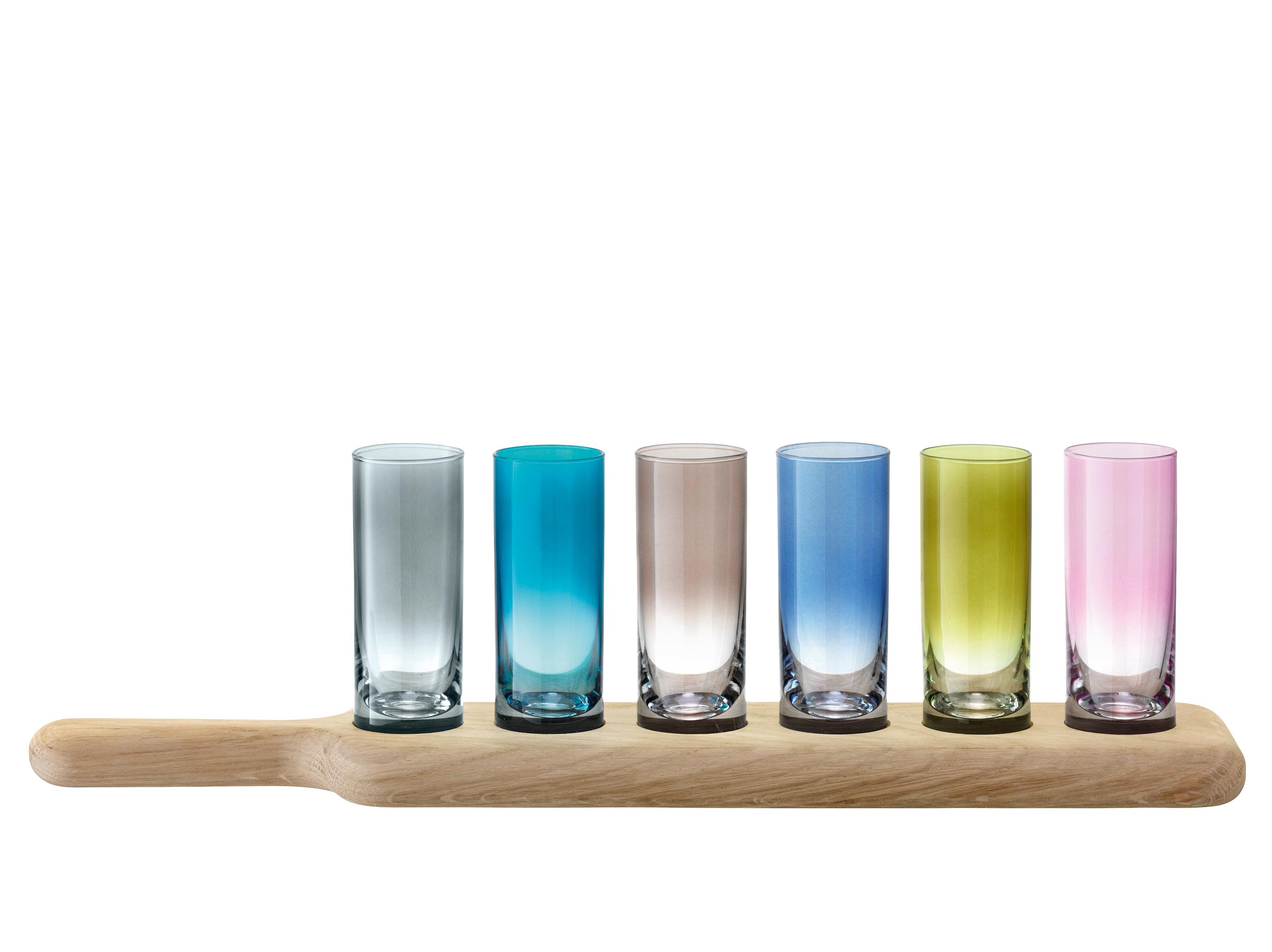 Paddle Wodka Set und Unterteil aus Eiche,  Länge: 40 cm, farblich sortiert